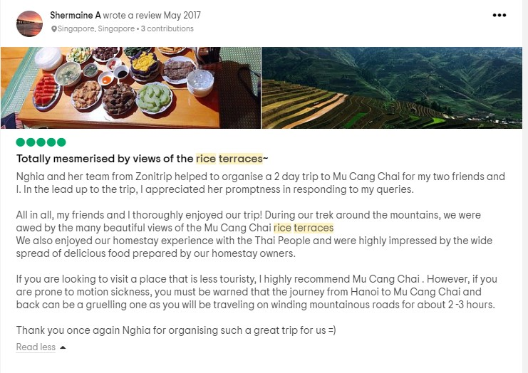mu cang chai trekking tour - review